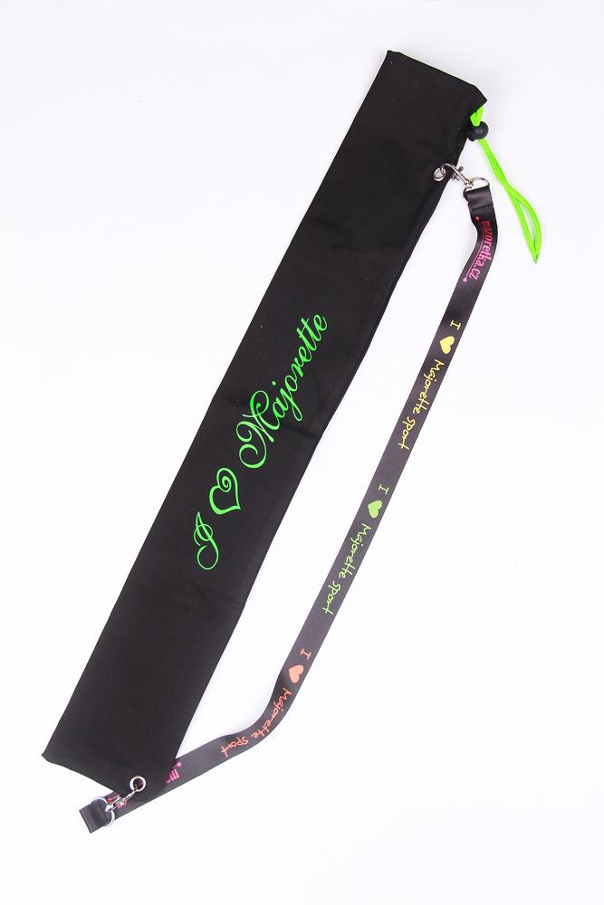 Pokrowiec na pałeczki czarny, zielony napis