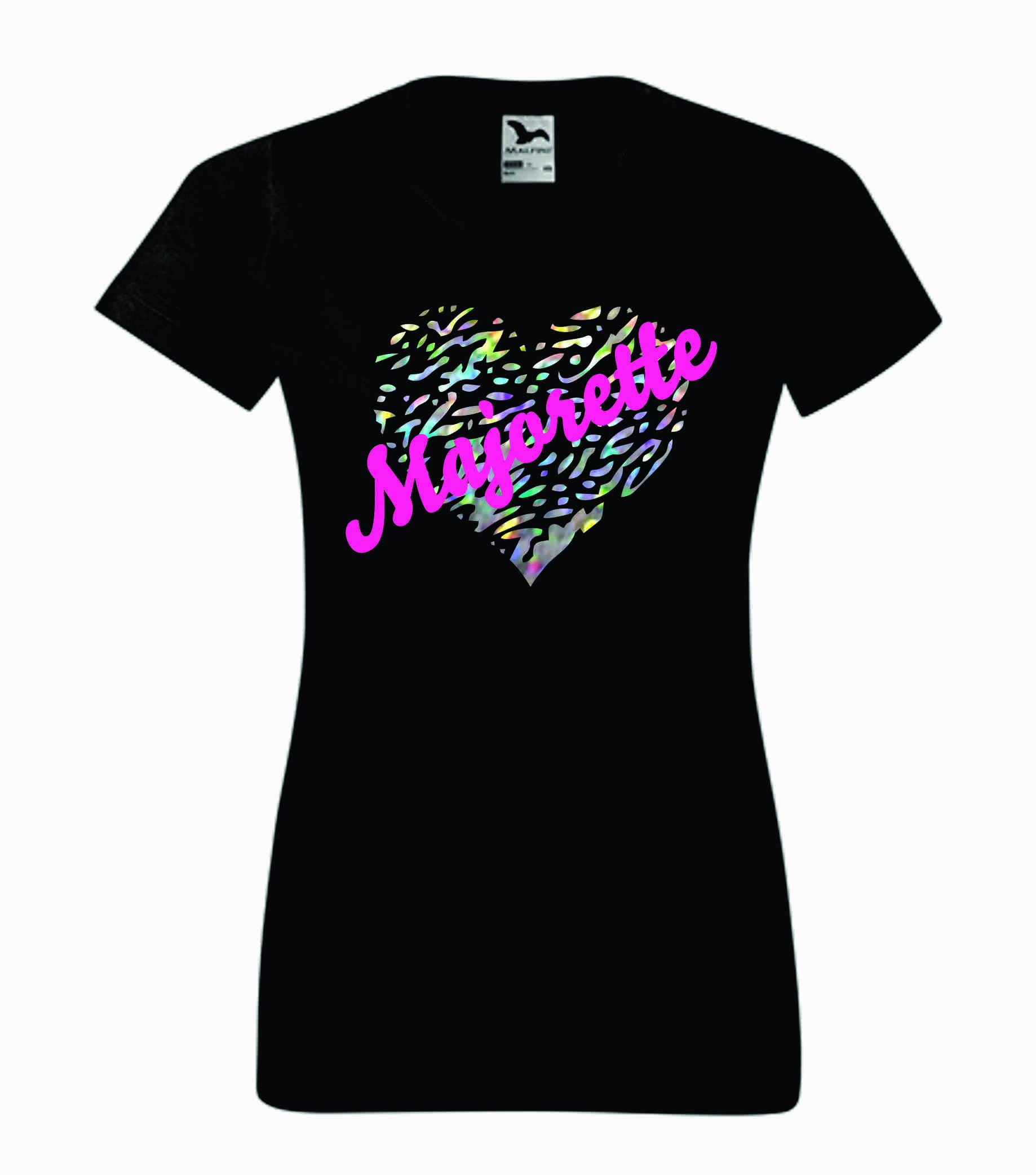 Czarna koszulka z błyszczącym sercem i napisem Majorette