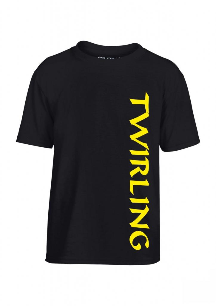 Koszulka dziecięca kolor czarny nadruk  twirling l