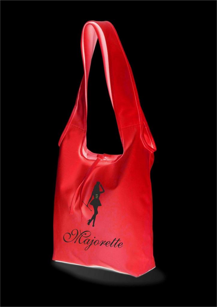 Bawełniana torba na ramię, czerwona -  nadruk czarny