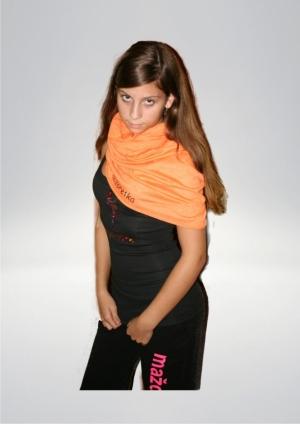 Szalik MAXI, kolor pomarańczowy, nadruk mażoretka