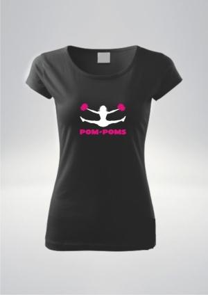 Koszulka damska czarna nadruk Pompony Róż.