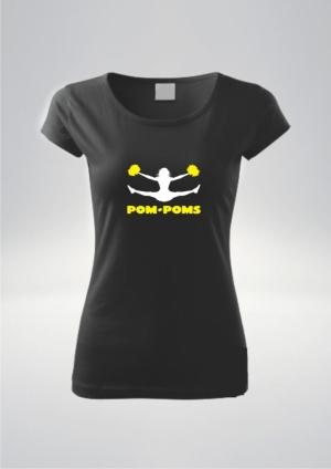 Czarna koszulka damska nadruk Pompony Żół.