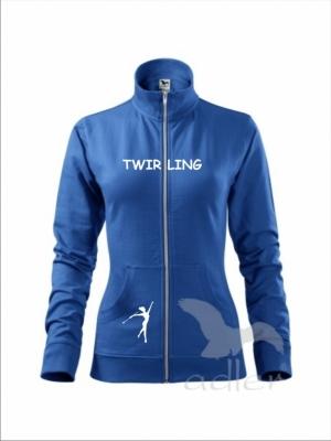 Rozpinana bluza damska - TWIRLING, niebieska