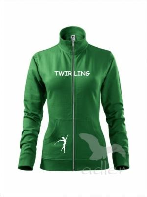 Rozpinana bluza damska - TWIRLING, zielona