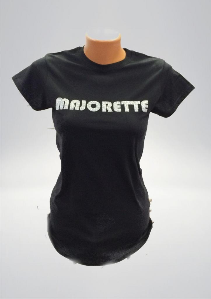 Czarna koszulka damska, MAJORETTE - srebrny nadruk