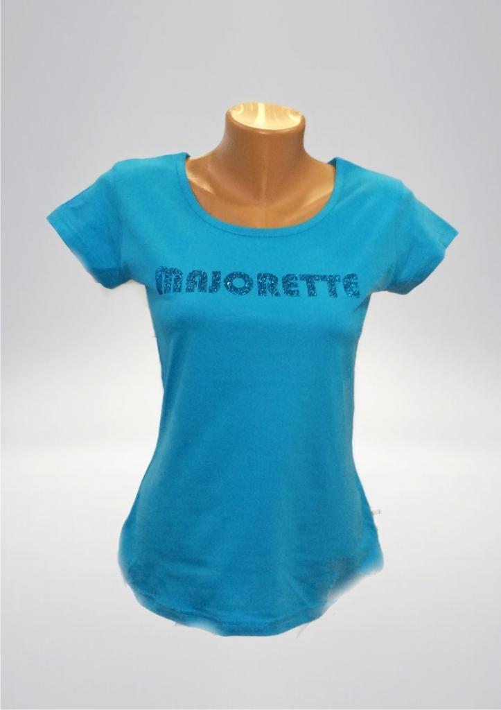 Niebieska koszulka damska, MAJORETTE - ciemnoniebieski  nadruk