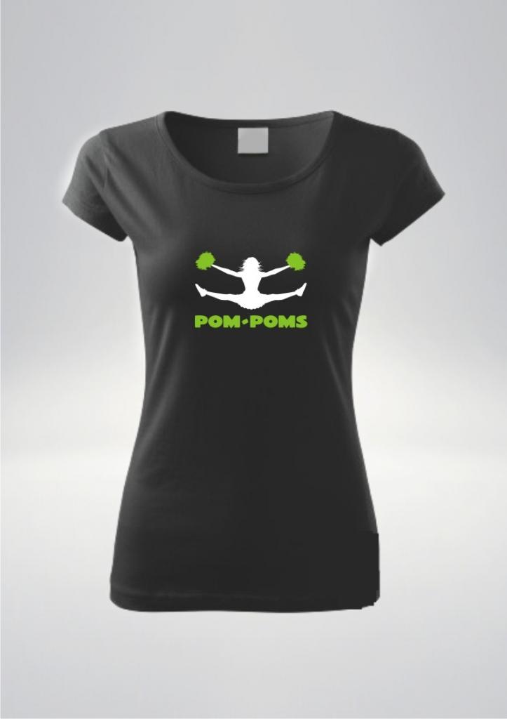 Czarna koszulka damska nadruk Pompony Zie.