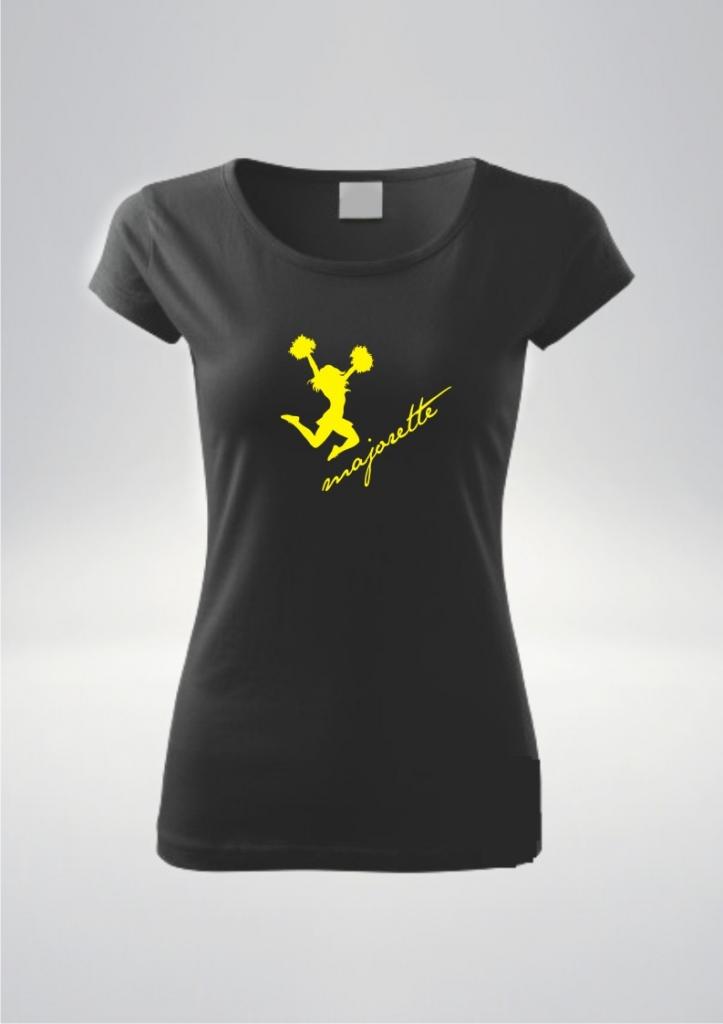 Koszulka damska kolor czarny nadruk Pompony Żół.