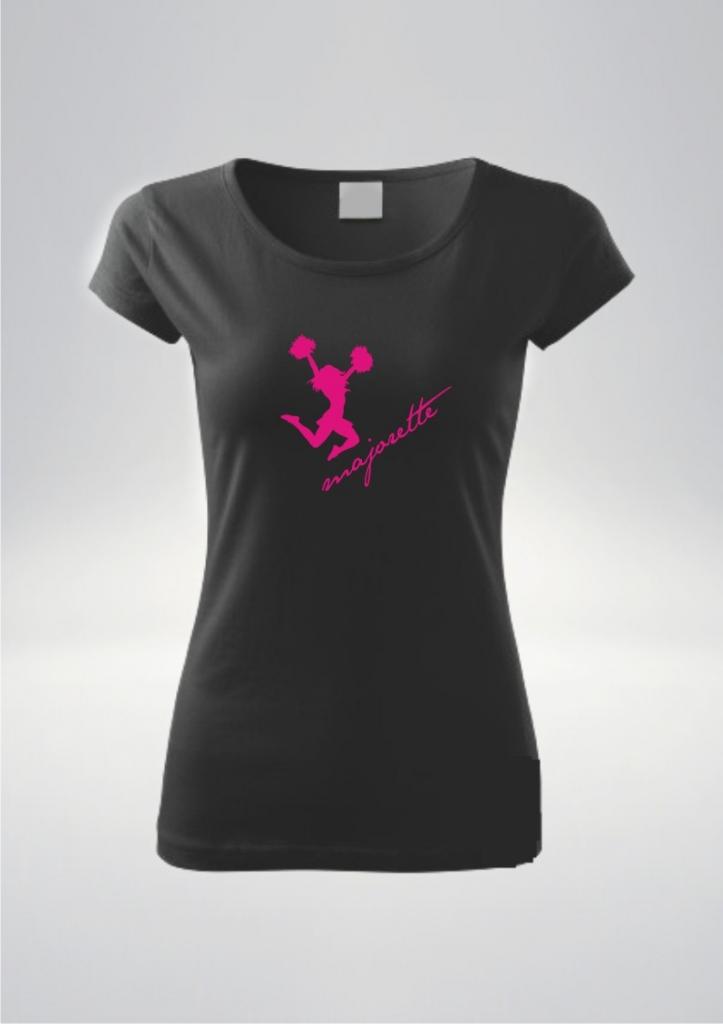 Czarna koszulka damska nadruk Pompony Róż.