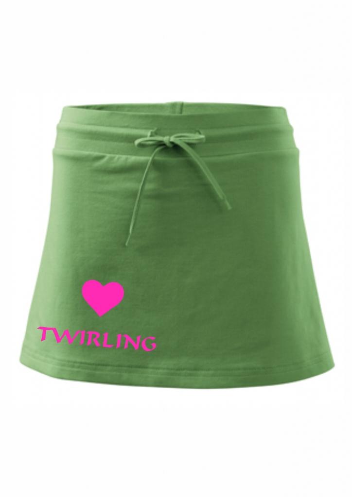 Spódniczka z szortami - zielona - twirling