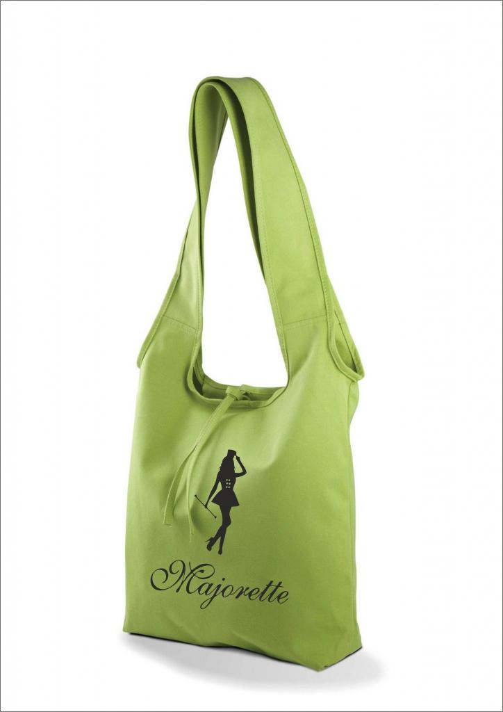 Bawełniana torba na ramię, zielona - nadruk czarny